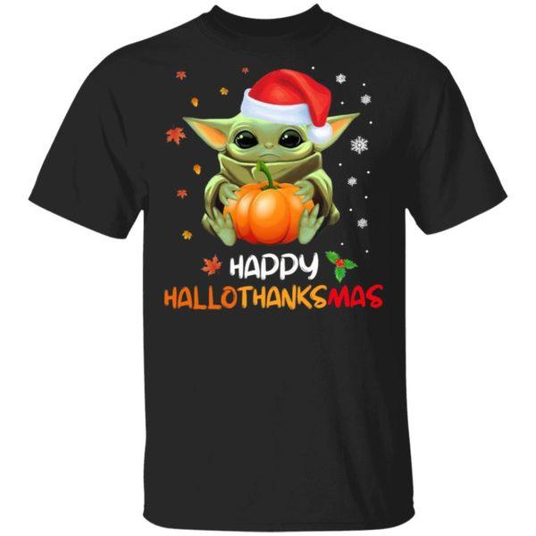 Baby Yoda Happy Hallothanksmas T-Shirt