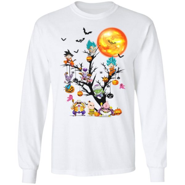 Son Goku Dragon Ball Character On The Halloween Moon Tree t-shirt, ls, hoodie