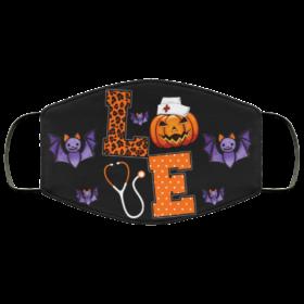 Love Nurse Pumpkin Halloween Face Mask