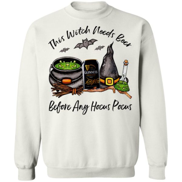 Guinness Can This Witch Needs Beer Before Any Hocus Pocus T-Shirt