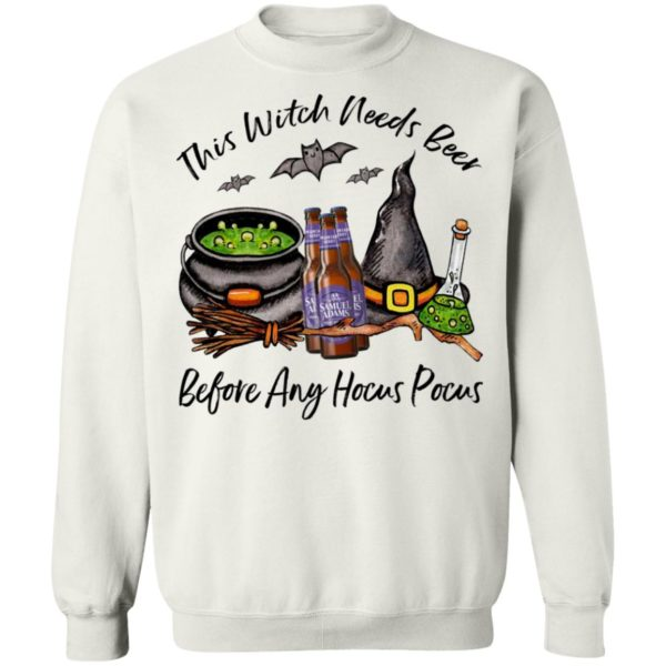 Samuel Adams Moutain Berry Bottle This Witch Needs Beer Before Any Hocus Pocus T-Shirt