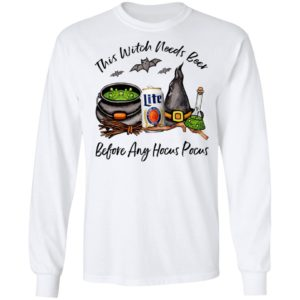 Millercoors Miller Lite Can This Witch Needs Beer Before Any Hocus Pocus T-Shirt