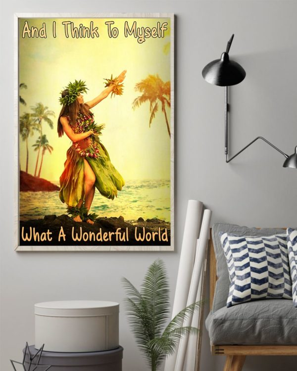 And I Think To Myself What A Wonderful World Hawaii Girl Vintage Poster, Canvas