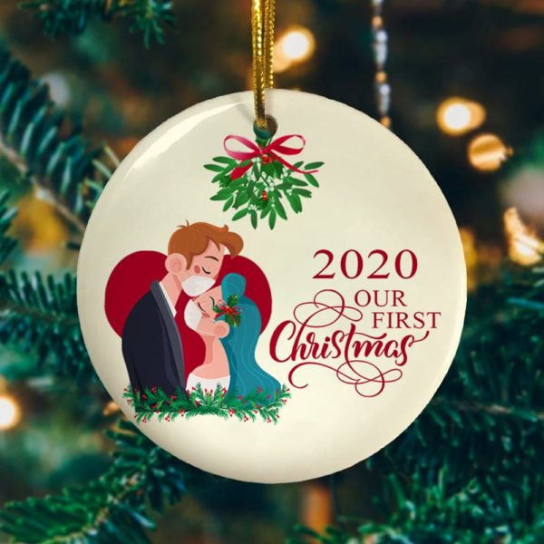 Bride and Groom Our First Christmas 2020 Decorative Christmas Ornament - Funny Holiday Gift