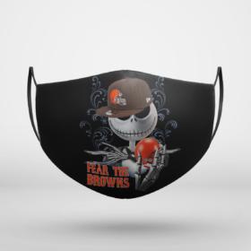 Fear The Cleveland Browns Jack Skellington NFL Halloween Face Mask