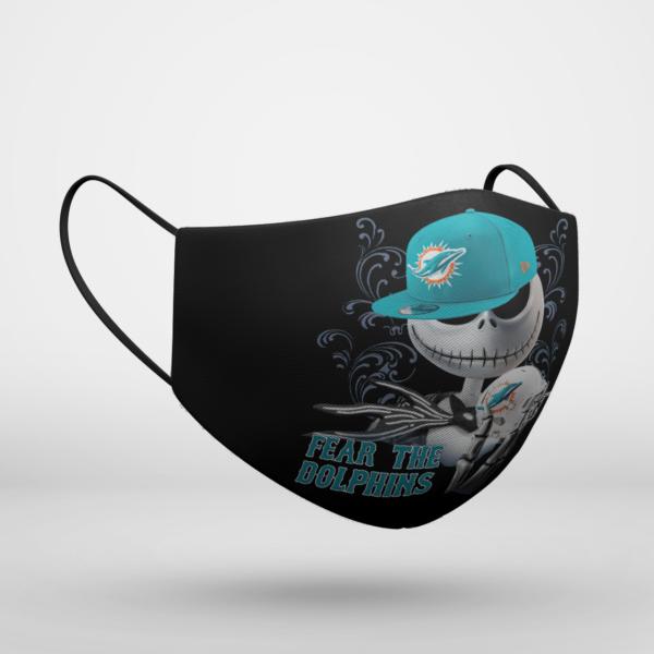 Fear The Miami Dolphins Jack Skellington NFL Halloween Face Mask