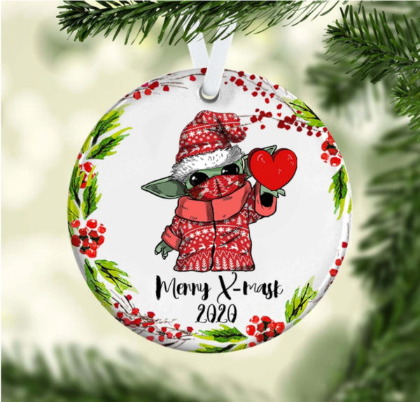 Cute Baby Yoda Merry X Mask Christmas Ornament – Funny Holiday Gift