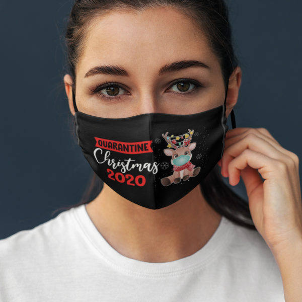 Quarantined Christmas 2020 Reindeer Face Mask