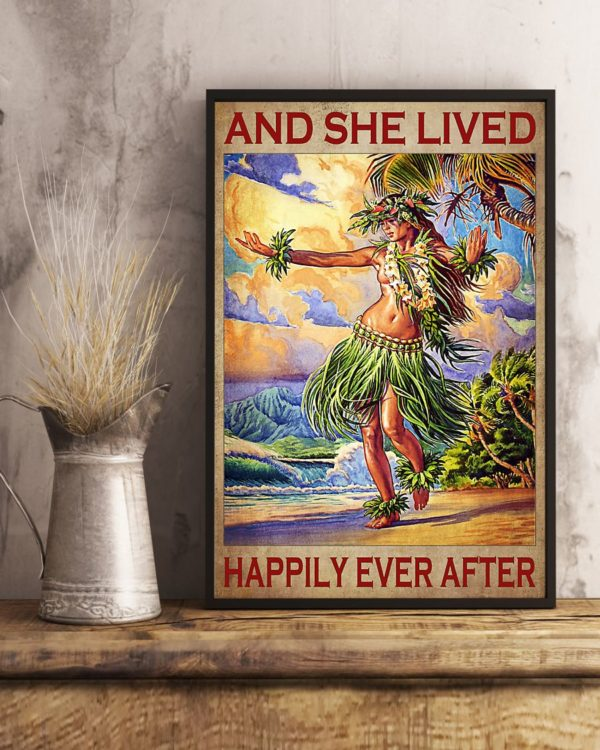 And She Lived Happily Ever After Hawaii Girl Vintage Poster, Canvas