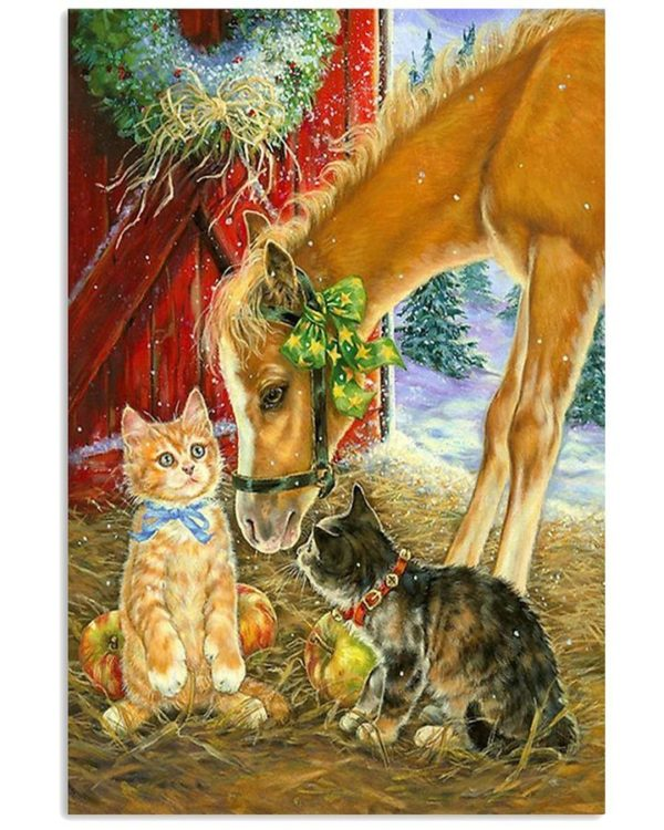 Farmer Life Cat And Horse Animals Lovers Vertical Poster, Canvas
