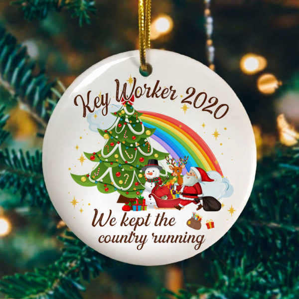 Key Worker 2020 We Kept The Country Running Decorative Christmas Ornament - Funny Holiday Gift