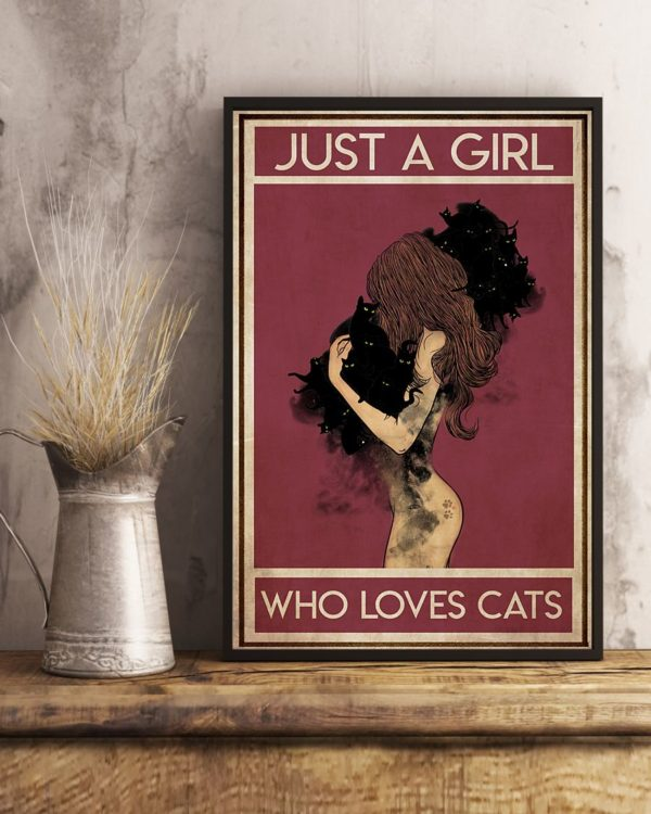 Black Cat Just A Girl Who Loves Cats Vintage Poster, Canvas