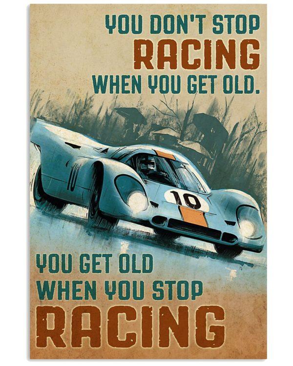 Racing Formula 1 You Dont Stop Riding When You Get Old You Get Old When You Stop Vintage Poster, Canvas