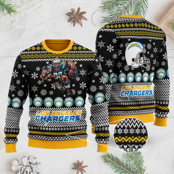Los Angeles Chargers Ugly Christmas Sweater 3D