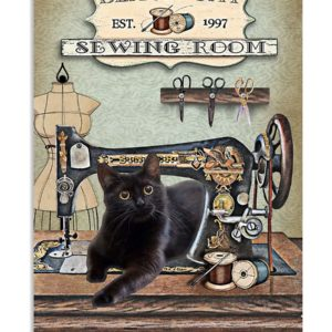 Black Cat Sewing Room Sewing Mends The Soul Vintage Poster, Canvas
