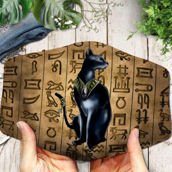 Black Cat Ancient Egypt Face Mask