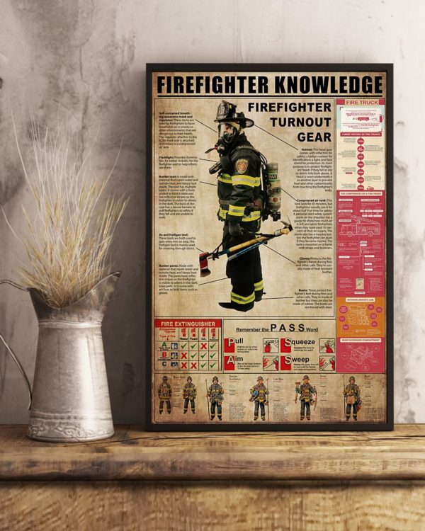 Firefighter Turnout Gear Firefighter Knowledge Vintage Poster, Canvas