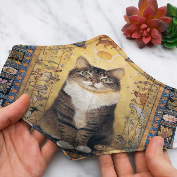 Cat And Sun Ancient Egypt Face Mask