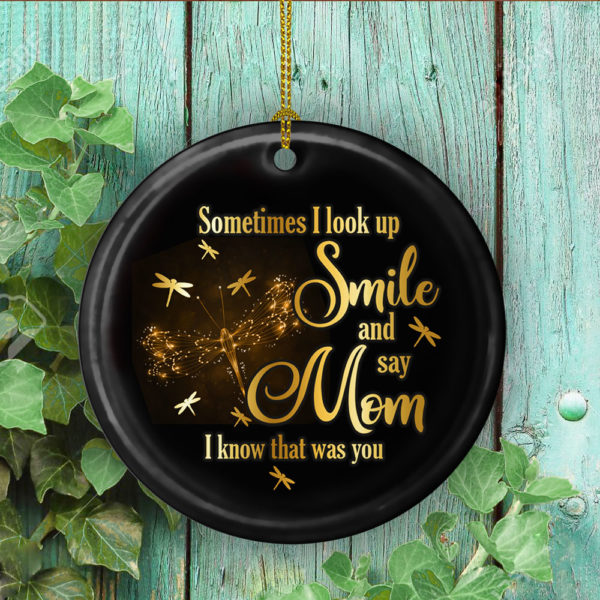 Dragonfly Sometimes I Look Up Smile And Say Mom I Know That Was You Decorative Ornament - Funny Holiday Gift