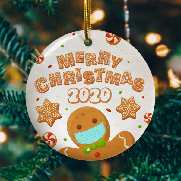Merry Christmas Funny Gingerbread Wearing Mask Circle Christmas Tree Ornament Keepsake Ornament
