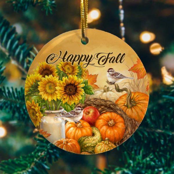 Happy Fall Pumpkin Holiday Decorative Ornament