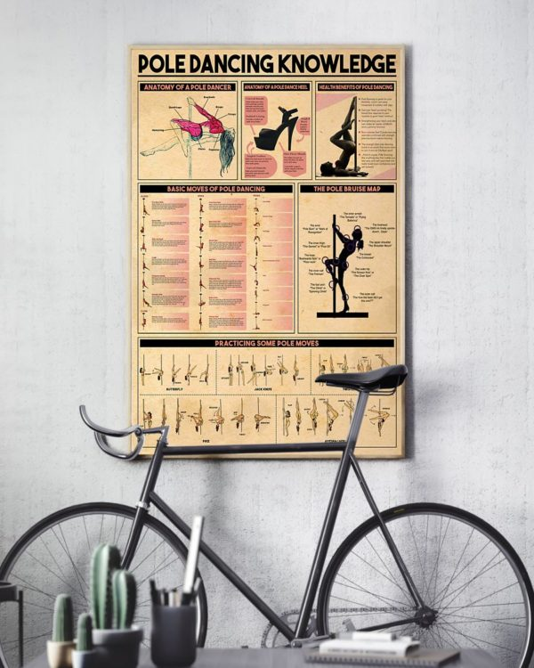 Pole Dancing Knowledge Vintage Poster, Canvas