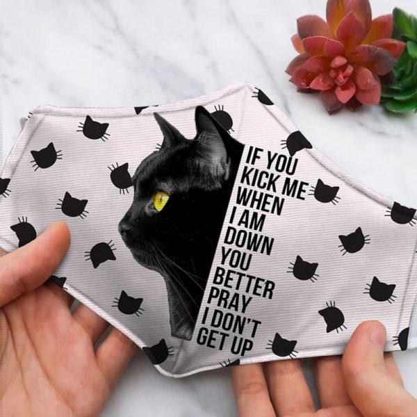 If You Kick Me Black Cat Halloween Face Mask