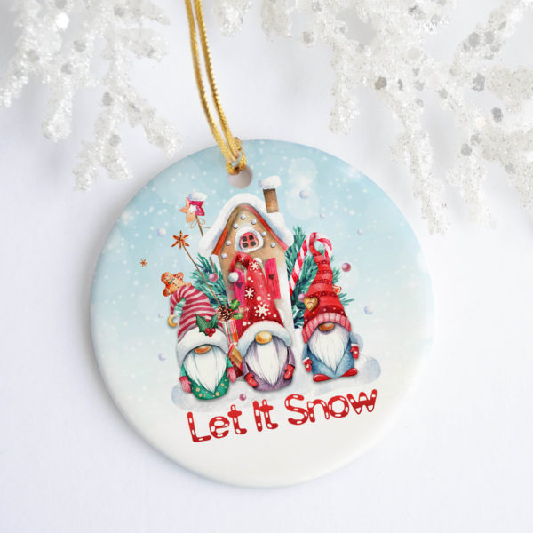 Let It Snow Cute Gnome Decorative Christmas Ornament - Funny Holiday Gift