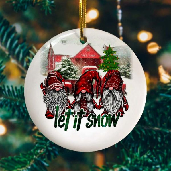 Funny Gnomes Let It Snow Saying Ornament - Forest Gnomes Christmas Is Coming Decorative Christmas Ornament - Funny Holiday Gift