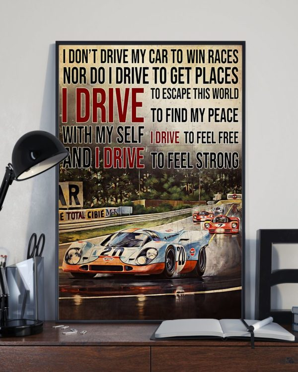 Racing Formula 1 I Drive To Feel Strong Vintage Poster, Canvas