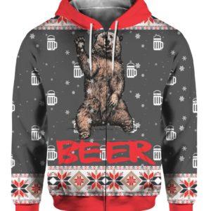 Bear Beer 3D Ugly Christmas Sweater Hoodie