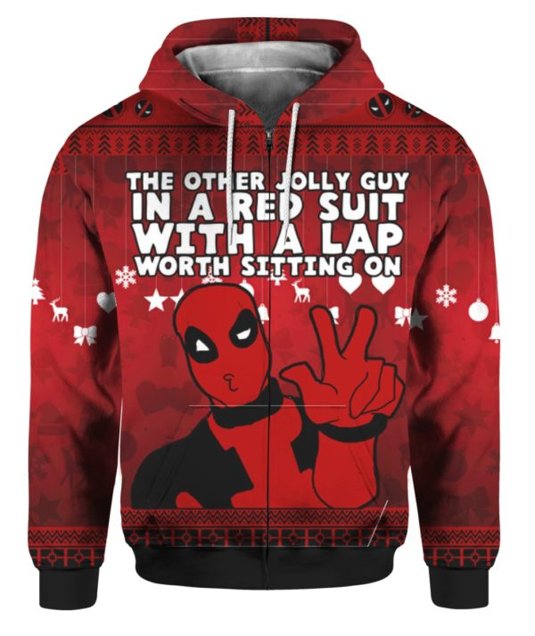 Deadpool The Other Jolly Guy in a Red Suit 3D Ugly Sweater Hoodie