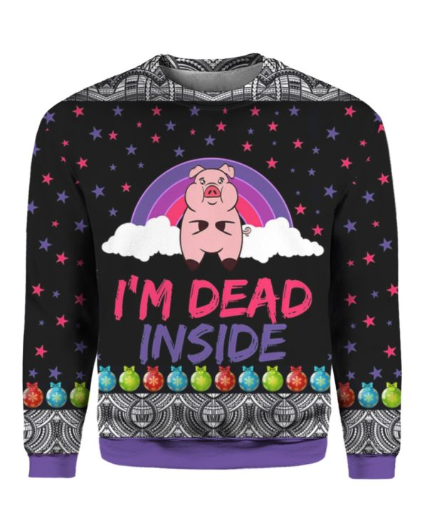 Pig I'm Dead Inside 3D Ugly Christmas Sweater Hoodie