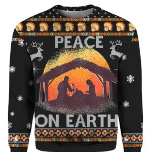 Nativity Jesus Peace On Earth 3D Ugly Christmas Sweater Hoodie