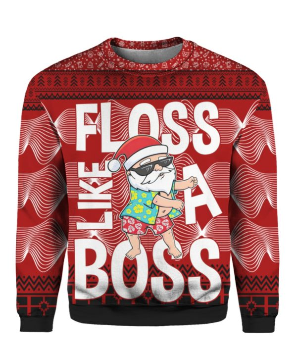 Santa Floss Like A Boss 3D Ugly Sweater Hoodie