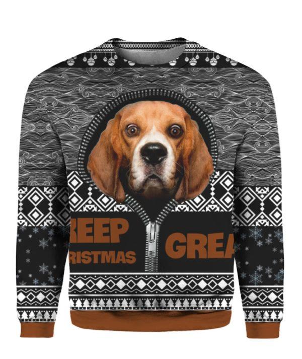 Beagle Keep Christmas Great 3D Ugly Christmas Sweater Hoodie