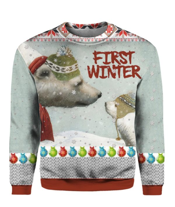 First Winter Polar Bears 3D Ugly Christmas Sweater Hoodie