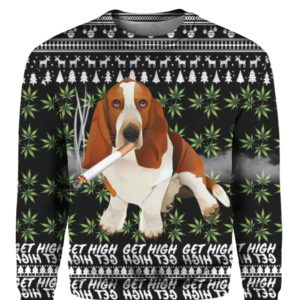 Basset Hound Get High Cannabis 3D Ugly Christmas Sweater Hoodie