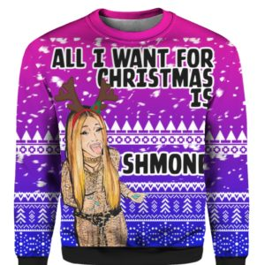 Cardi B All I Want for Christmas is Shmoney 3D Ugly Sweater Hoodie