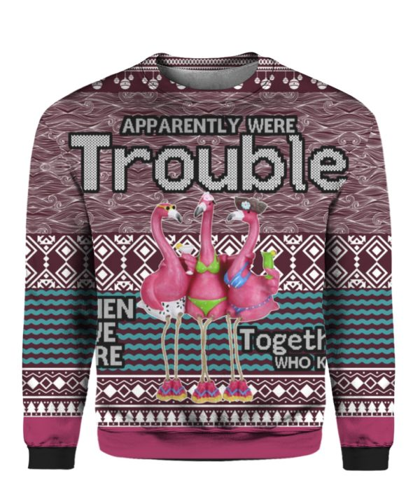 Apparently Were Trouble When We Are Together Who Knew 3D Ugly Christmas Sweater, Hoodie