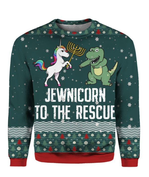 Jewnicorn To The Rescue 3D Ugly Christmas Sweater Hoodie