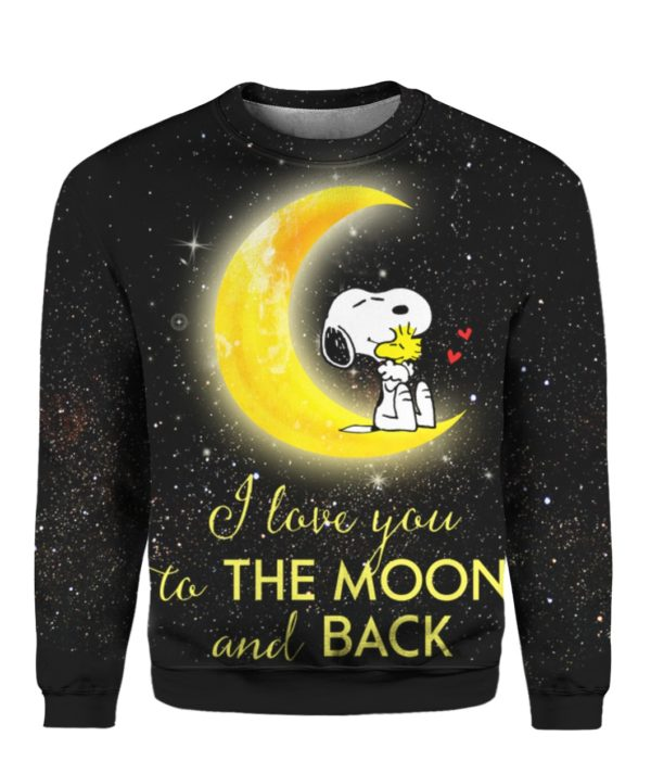 Snoopy I Love You To The Moon And Back 3D Shirt Sweater Hoodie