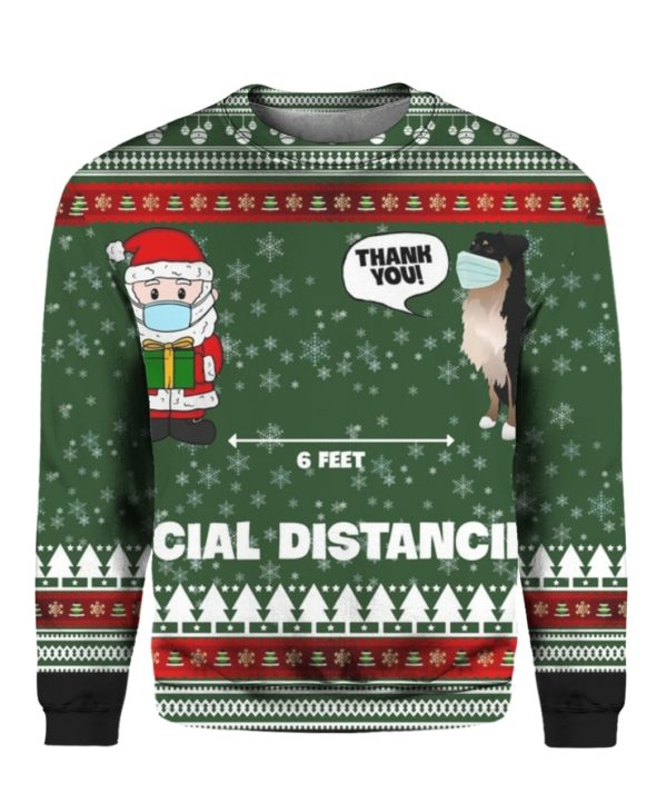 6 Feet Social Distancing Border Collie And Santa Claus 3D Ugly Christmas Sweater