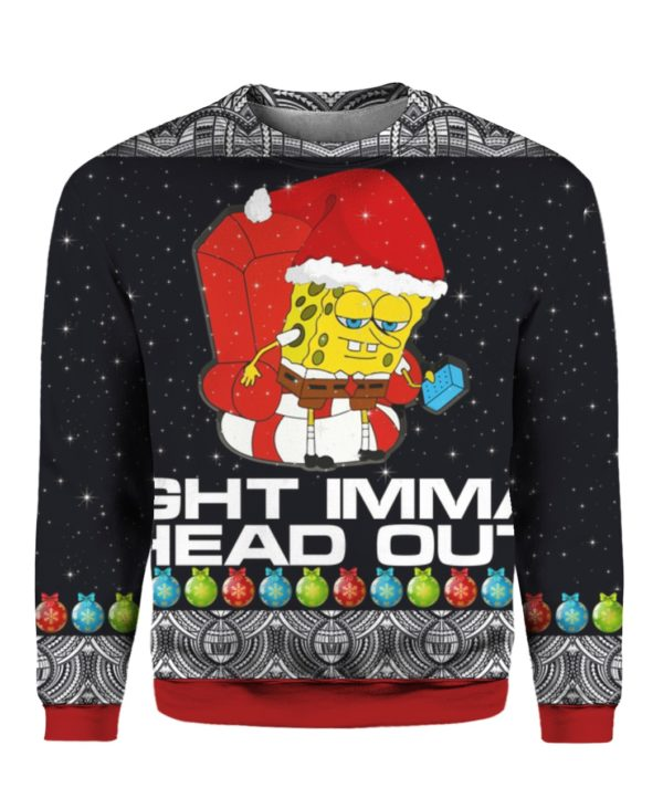 Meme Ight Imma Head Out 3D Ugly Christmas Sweater Hoodie