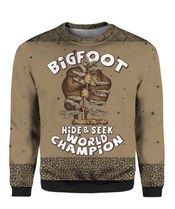 Bigfoot Hide And Seek Champion 3D Ugly Sweater Hoodie