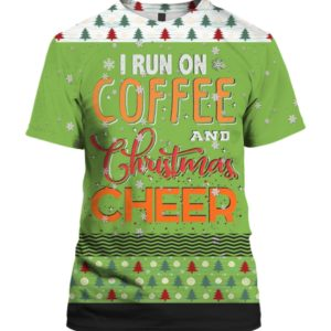 Running on Caffeine And Christmas Cheer 3D Ugly Christmas Sweater Hoodie