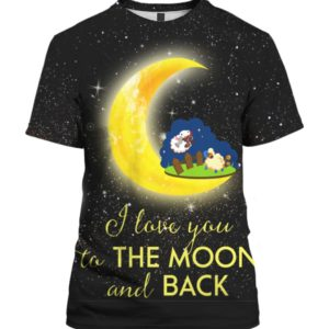 Cute Sheep I Love You To The Moon And Back 3D Ugly Sweater Hoodie