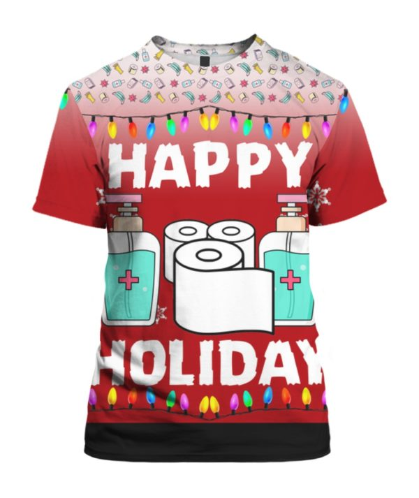 Happy Holidays Toilet Paper Hand Sanitizer 3D Ugly Christmas Sweater Hoodie