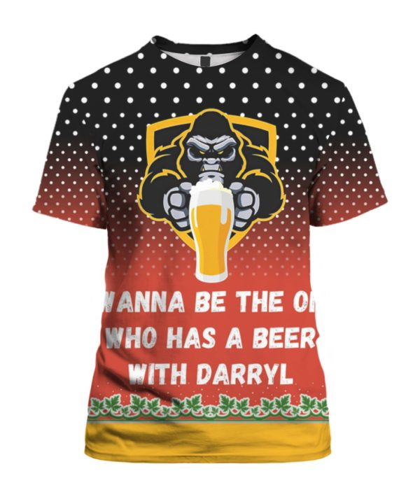 Bigfoot I Wanna Be The One Who Has A Beer With Darryl 3D Ugly Christmas Sweater Hoodie