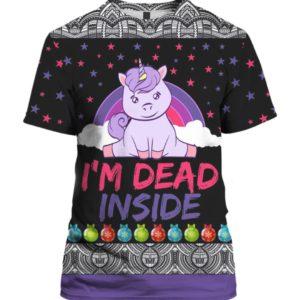 Unicorn I'm Dead Inside 3D Ugly Christmas Sweater Hoodie